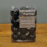 Black Decorated 3cm Bauble Decorations (Set of 24) by Premier