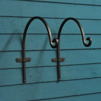 Metal Forge Round Hanging Basket Hooks (30cm) Set of 2