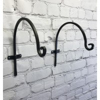 Metal Round Hanging Basket Hooks (30cm) Set of 2