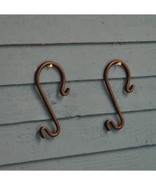 Steel Tree S Hooks for Bird Feeders and Hanging Baskets (Set of 2)