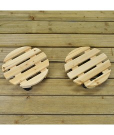 Set of 2 Round Wooden Plant Pot Trolley Movers (30cm)