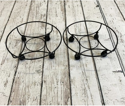 Set of 2 Round Metal Plant Pot Trolley Movers (33cm)