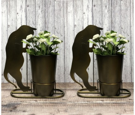 2 x Curious Cat Plant Pots in Burnished Gold