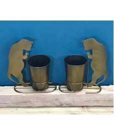 2 x Curious Kitten Plant Pots in Burnished Gold