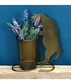 Curious Kitten Plant Pot in Burnished Gold