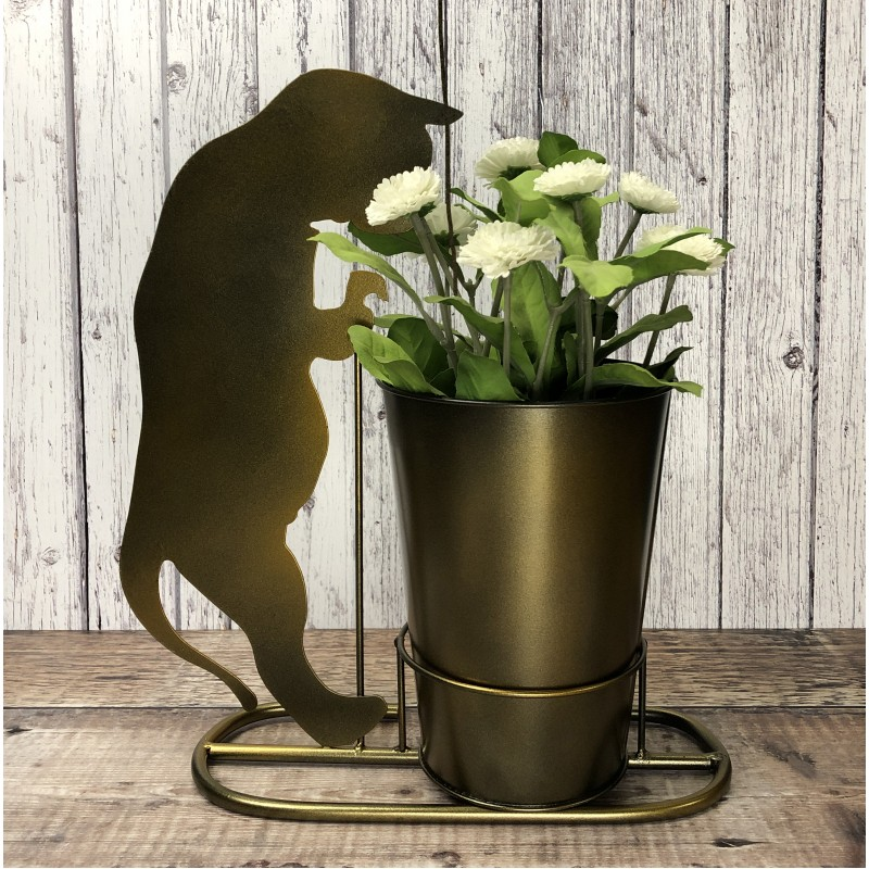 Curious Cat Plant Pot in Burnished Gold