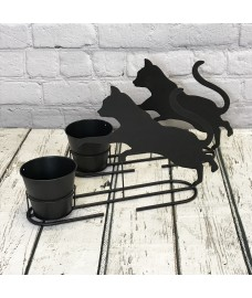 2 x Playful Cat Plant Pots in Charcoal