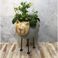 Woodstone Cat Plant Pot
