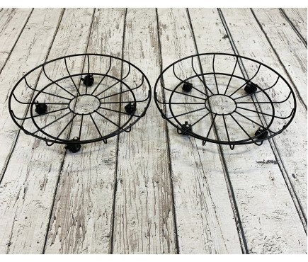 Set of 2 Round Metal Plant Pot Trolley Movers (43cm)