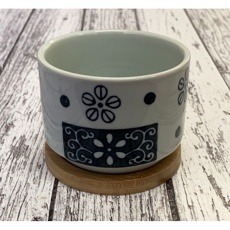 Round Succulent and Cactus Plant Pot with Blue Silhouette Flower Design