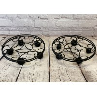 Set of 2 Round Metal Plant Pot Trolley Movers (35cm)