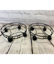 Set of 2 Round Metal Plant Pot Trolley Movers (30cm)