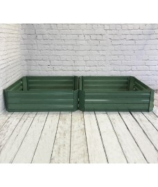 Set of 2 x Metal Raised Vegetable Beds in Green (100cm x 30cm)