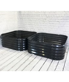 Set of 2 x Metal Raised Bed Garden Planter in Dark Grey (120cm)