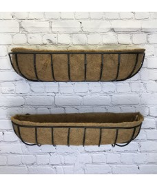 Set of 2 Manor Garden Black Metal Wall Basket Manger Trough Planters (90cm)