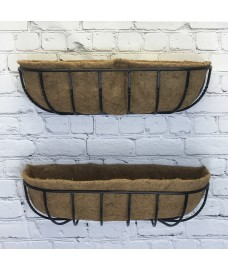 Set of 2 Manor Garden Black Metal Wall Basket Manger Trough Planters (75cm)