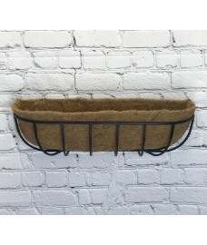Manor Garden Black Metal Wall Basket Manger Trough Planter (75cm)