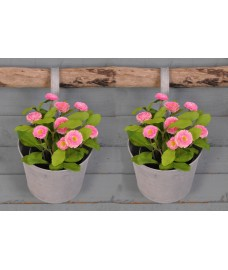 Round Zinc Metal Balcony Hanging Pot Planters (Set of 2)