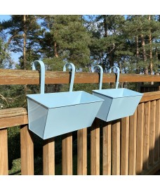 Duck Egg Blue Balcony Hanging Planters (Set of 2)
