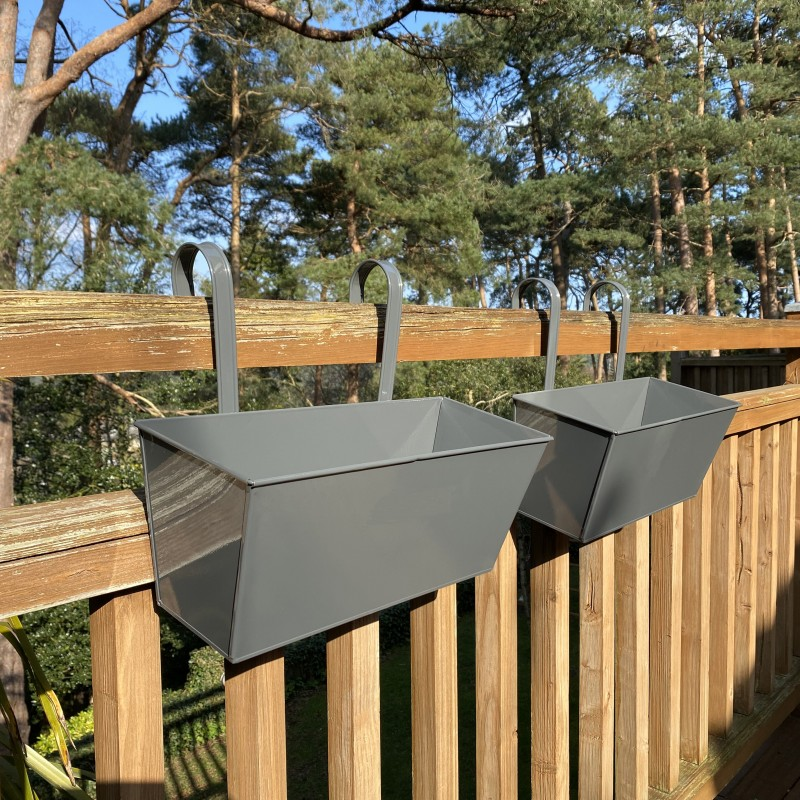 French Grey Balcony Hanging Planters (Set of 2)