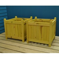 Square Wooden Planters in Tan (Set of 2)