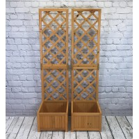 Wooden Garden Planter with Trellis (Set of 2)
