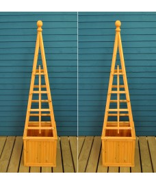 Wooden Garden Obelisk Planter with Liner (Set of 2)