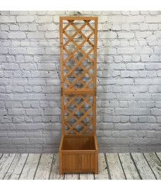 Wooden Garden Planter with Trellis