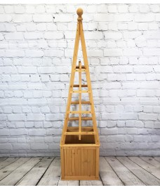 Wooden Garden Obelisk Planter with Liner