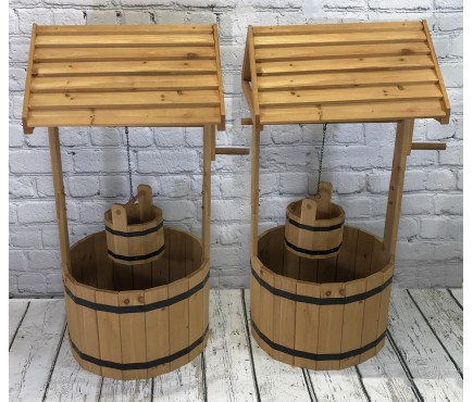 Large Wooden Wishing Well Garden Planters (Set of 2)