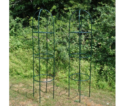 Set of 2 Metal Garden Obelisks