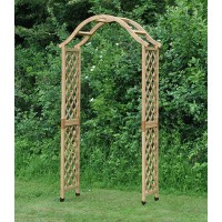 Wooden Garden Arch (Tan) with Ground Spikes