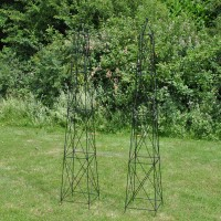 Pair of Roman Steel Garden Obelisks (2.1m)
