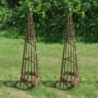Set of 2 Spiral Willow Garden Obelisks (1.5m)