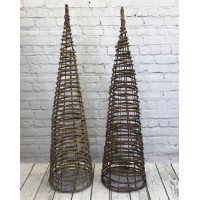 Set of 2 Willow Twist Spiral Garden Obelisks (1.5m)