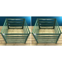 Set of 2 Metal Slatted Garden Composter in Green (90cm x 70cm)