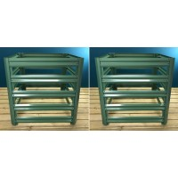 Set of 2 Metal Slatted Garden Composter in Green (70cm x 70cm)