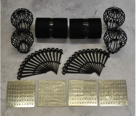 Gutter Protection Mesh Guard (2x6m), Downpipe Filter Guards (4) & Stainless Steel Drain Covers (4)