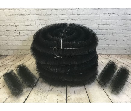 Set of 5 Black Gutter Brush Leaf Guard (4m) with Set of 4 Drain Guard Plugs