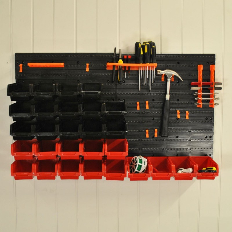 Tool Wall Storage Rack Panel For Garden Sheds and Garages (44 Pieces)