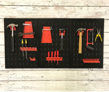 Metal Peg Board Tool Organiser With 17 Hooks (120 x 60 x 2cm)