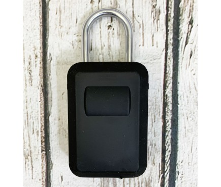 Portable Padlock Style Key Storage Safe with Rubber Cover - 4 Digit Roller Lock
