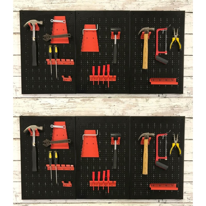 Pack of 2 Metal Peg Board Tool Organisers With 17 Hooks (120 x 60 x 2cm)