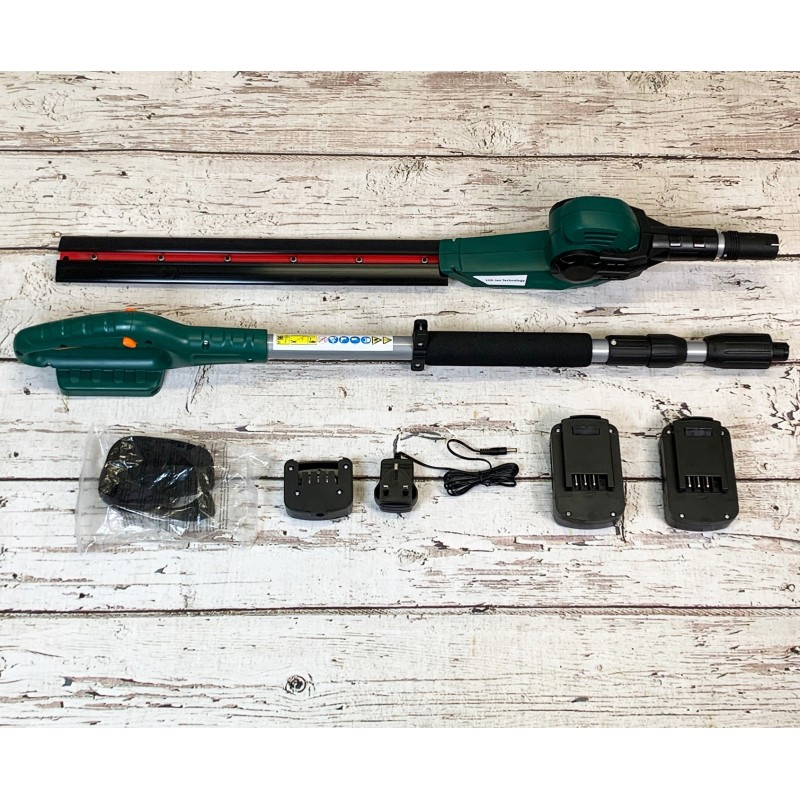 Cordless Pole Hedge Trimmer Cutter with 2 x 18 volt Lithium Ion Batteries (Extends to 2.12m)