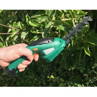 Cordless Handheld Hedge Trimmer and Grass Shears with 3.6 volt Lithium Ion Battery and Telescopic Handle