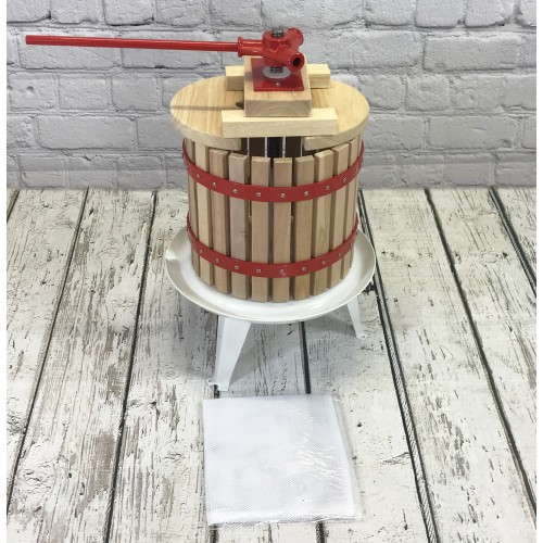 with Straining Bag /& Pulping Bucket 12 Litre Traditional Fruit and Apple Press