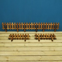 Set of 9 Wooden Picket Fencing Lawn Edging Panels (50cm x 20cm)