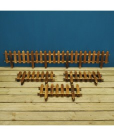 Set of 12 Wooden Picket Fencing Lawn Edging Panels (50cm x 20cm)