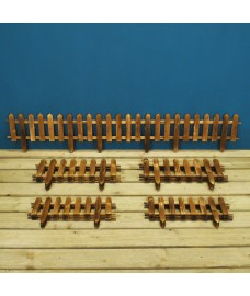 Set of 15 Wooden Picket Fencing Lawn Edging Panels (50cm x 20cm)
