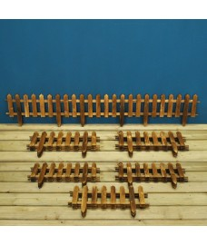 Set of 18 Wooden Picket Fencing Lawn Edging Panels (50cm x 20cm)